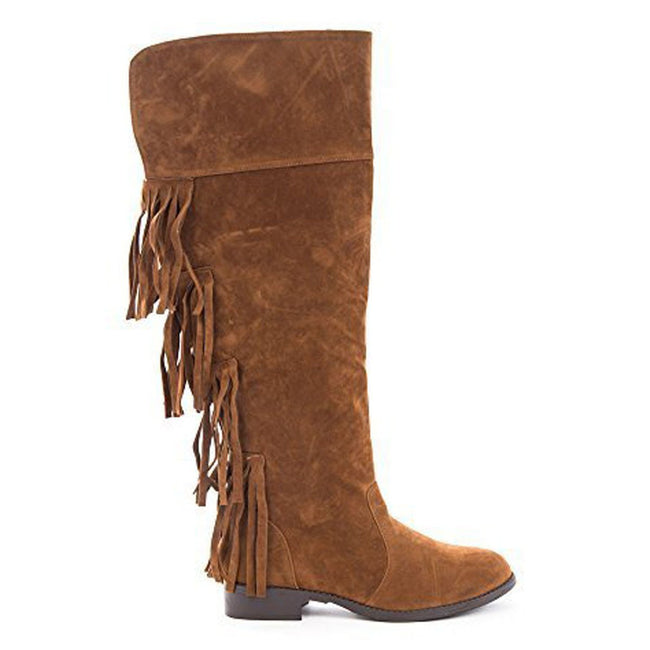 Soho Shoes Women's Suede Over The Knee Fringe Boots
