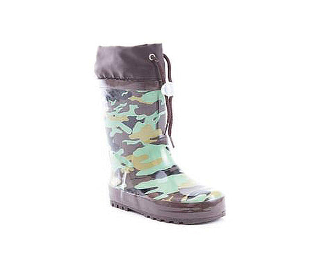 Soho Shoes Kids Rubber Drawstring Printed Rain Boots