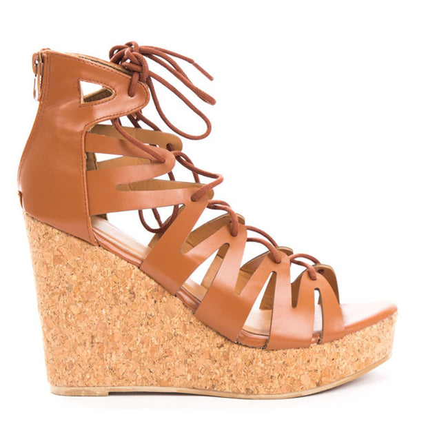 Soho Shoes Women's Platform Cork Peep Toe High Corset Wedge Sandal