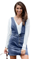 Thigh High Washed Denim Dungarees Skirt Dress