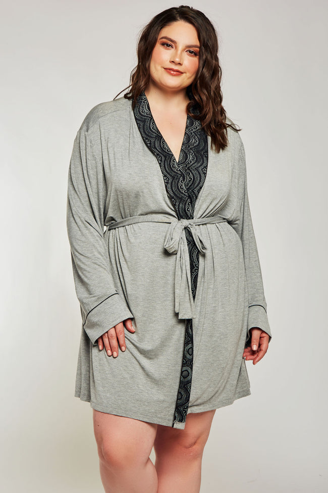 iCollection Modal Shawl Lace Collar Robe - 7881X