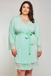 iCollection Lace Trim Robe - 7889X