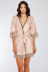 iCollection Satin & Eyelash Lace Robe - 7918