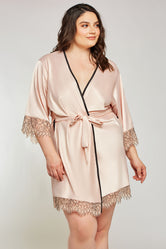 iCollection Satin & Eyelash Lace Robe - 7918X
