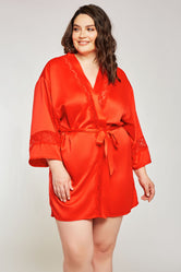 iCollection Satin & Lace Insert Robe - 7932X