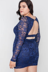 Plus Size Navy Lace Open Back Bodycon Mini Dress