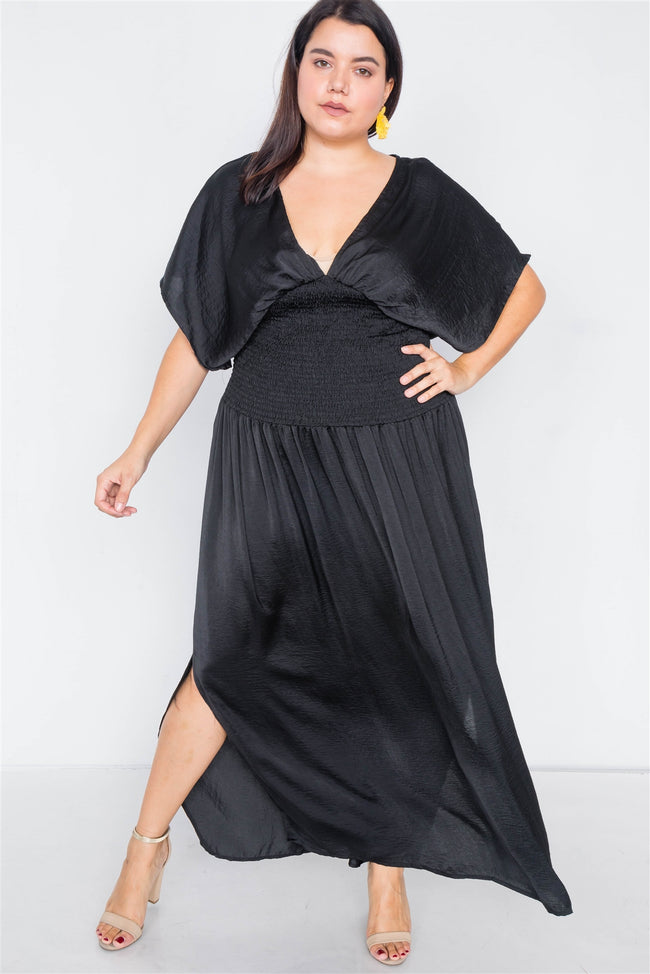 Plus Size Black V-Neck Satin Kimono Sleeve Maxi Dress  /2-2-2