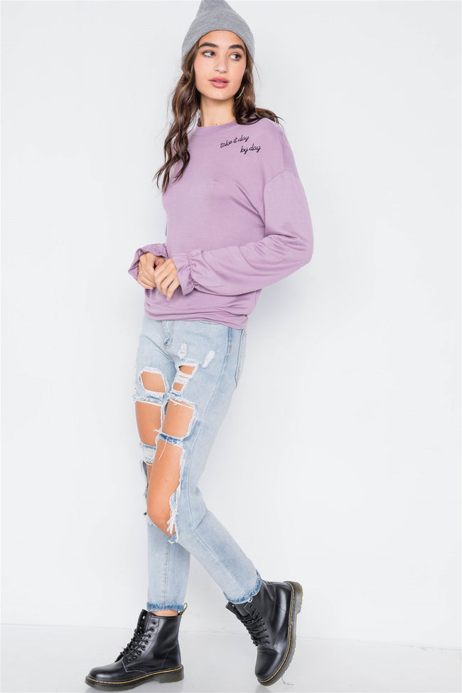 "Lavender ""Take It Day By Day"" Cozy Flounce Cuff Sweater"