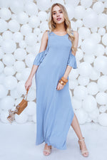 Light Blue Cold Shoulder Side Slit Maxi Basic Dress