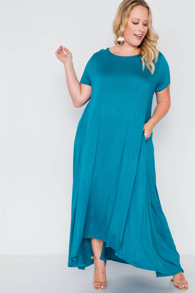 Plus Size Teal Basic Short Sleeve Maxi Dress