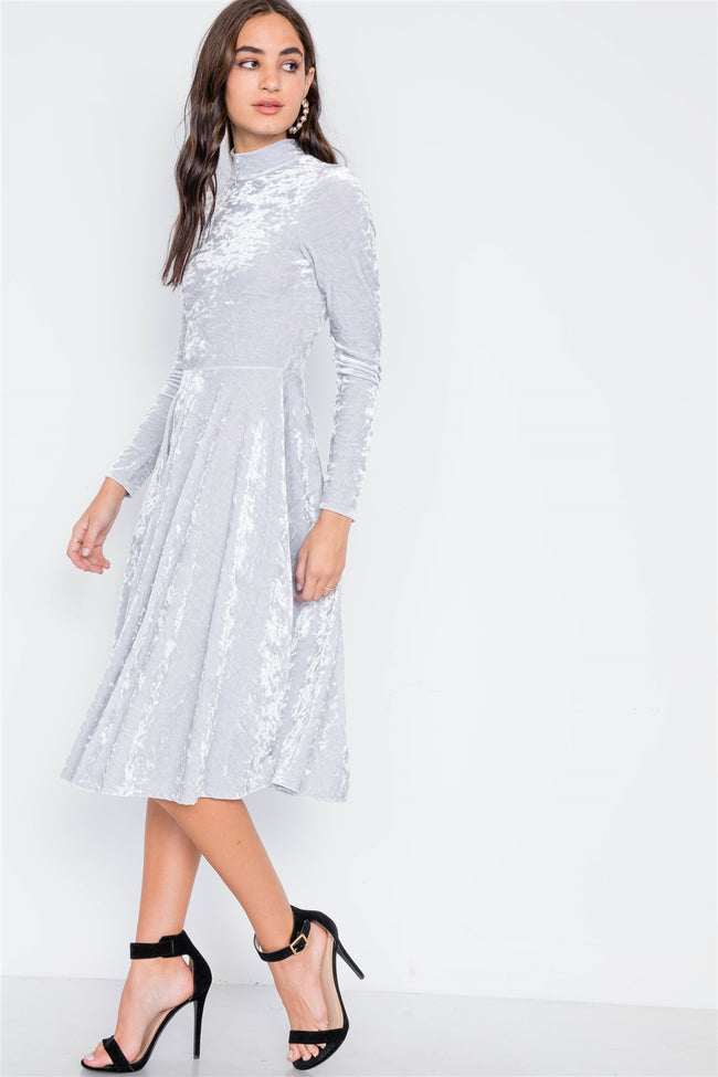 Light Grey Velvet Long Sleeve A-Line Midi Evening Dress