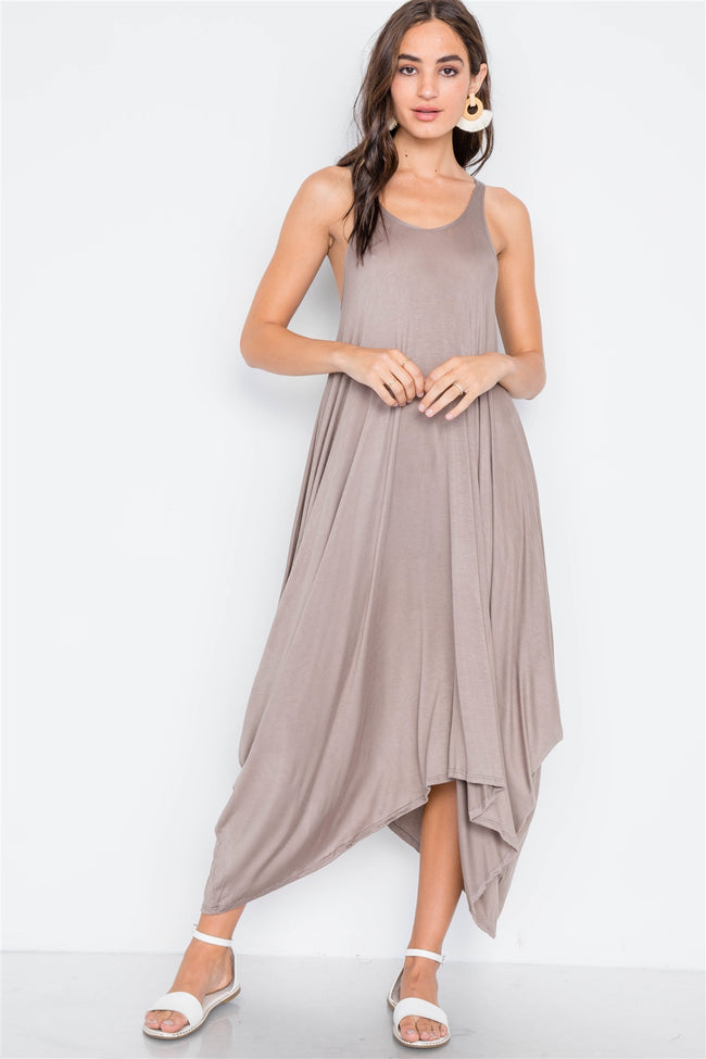 Light Brown Basic Loose Fit Sleeveless Midi Dress