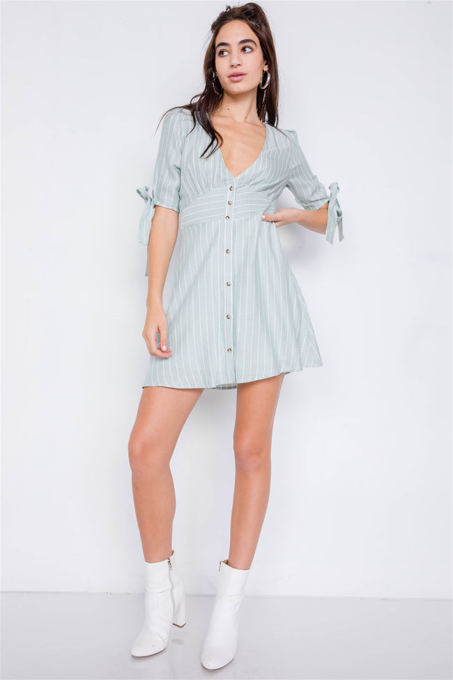Mint & White Stripe Casual Office Chic 3/4 Bow Sleeve Mini Dress
