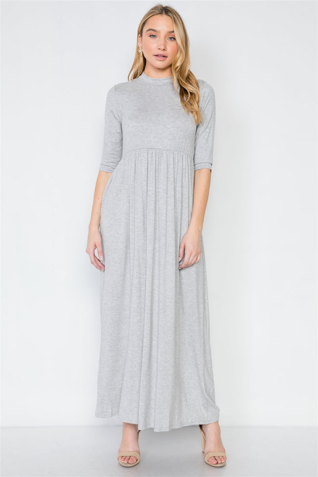 Heather Grey 3/4 Sleeve Basic Maxi Dress