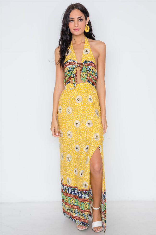 Yellow Floral Paisley Print Site Slits Maxi Dress