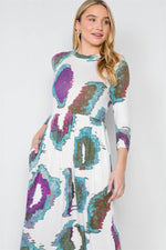 Off White 3/4 Sleeve Watercolor Printed Maxi Dress