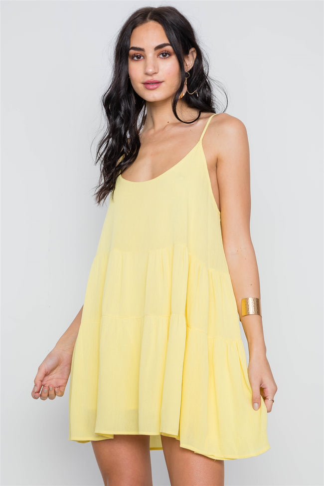 Yellow Cami Lace Up Swing Mini Dress