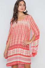 Coral Geo Print Long Slit Sleeves Boho Tunic Dress