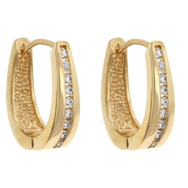 Elegant Goldtone Finish Cubic Zirconia Hoop Earrings         	 		         	         	 		         	         	 		         	         	 		                           E01207G-C01