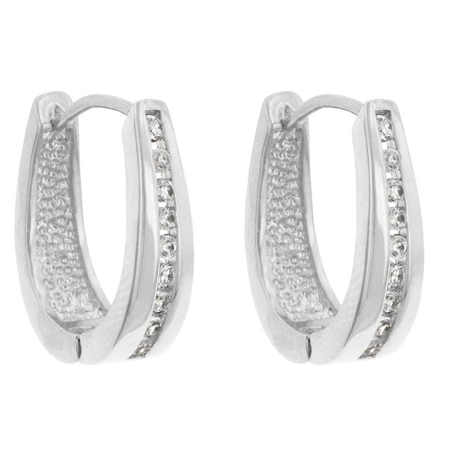 Elegant Rhodium Plated Finish Cubic Zirconia Hoop Earrings         	 		         	         	 		         	         	 		         	         	 		                           E01207R-C01