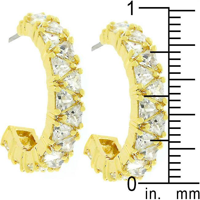 Trillion Cut Cubic Zirconia Hoop Earrings Goldtone Finish         	 		         	         	 		         	         	 		                           E01663G-C01