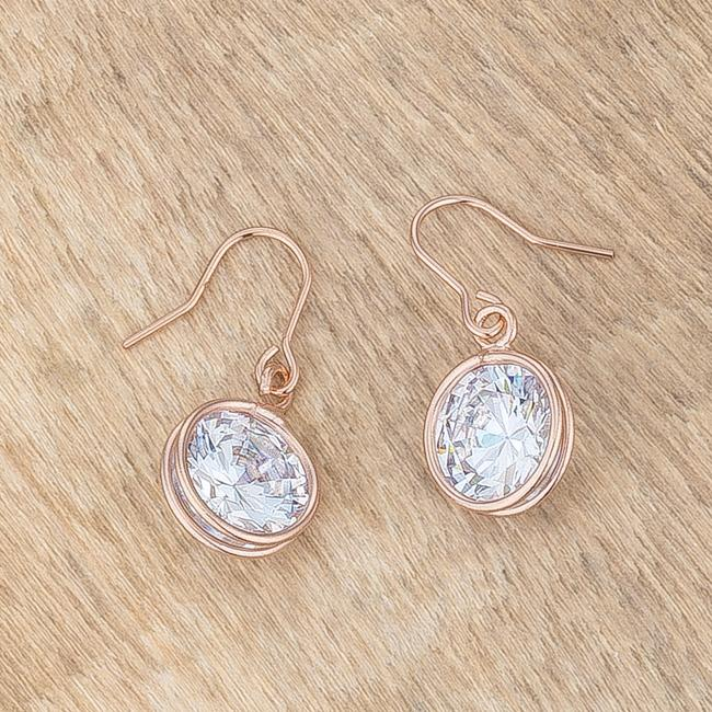 5.5 Ct Rose Gold CZ Drop Earrings         	 		         	         	 		         	         	 		         	         	 		                           E01691A-S01