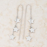 Reina Rhodium Stainless Steel Delicate Star Threaded Drop Earrings         	 		         	         	 		         	         	 		         	         	 		                           E01877R-V00