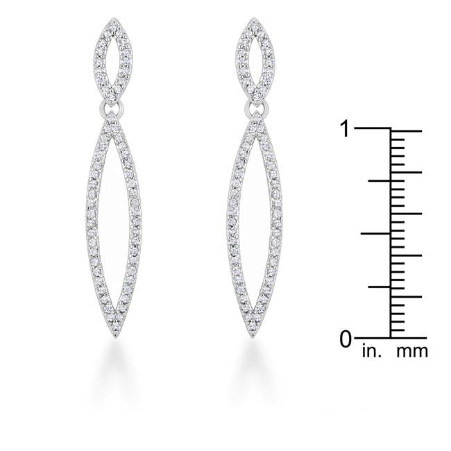 Sara 1.2ct CZ Rhodium Delicate Double Teardrop Drop Earrings         	 		         	         	 		         	         	 		         	         	 		                           E01878R-C01