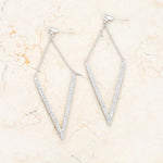 Michelle 1.2ct CZ Rhodium Delicate Pointed Drop Earrings         	 		         	         	 		         	         	 		                           E01879R-C01