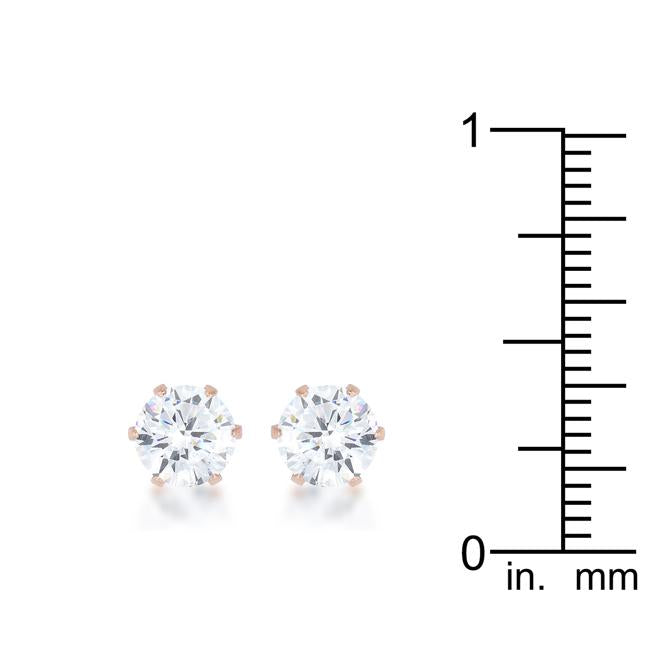 Reign 3.4ct CZ Rose Gold Stainless Steel Stud Earrings         	 		         	         	 		         	         	 		         	         	 		                           E01884AV-C01