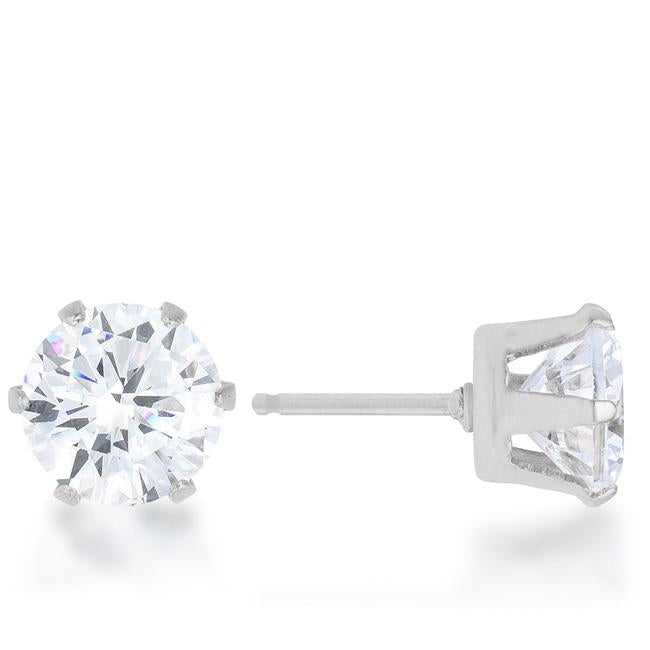 Reign 3.4ct CZ Rhodium Stainless Steel Stud Earrings         	 		         	         	 		         	         	 		         	         	 		                           E01884RV-C01
