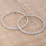 3.85Ct Silvertone Cup Chain Hoop Earrings         	 		         	         	 		         	         	 		                           E01939X-C02