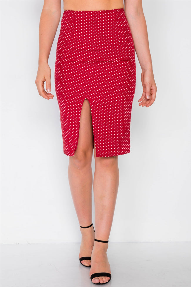 Red Polkadot Printed Ruched Crop Top & Midi Skirt Set