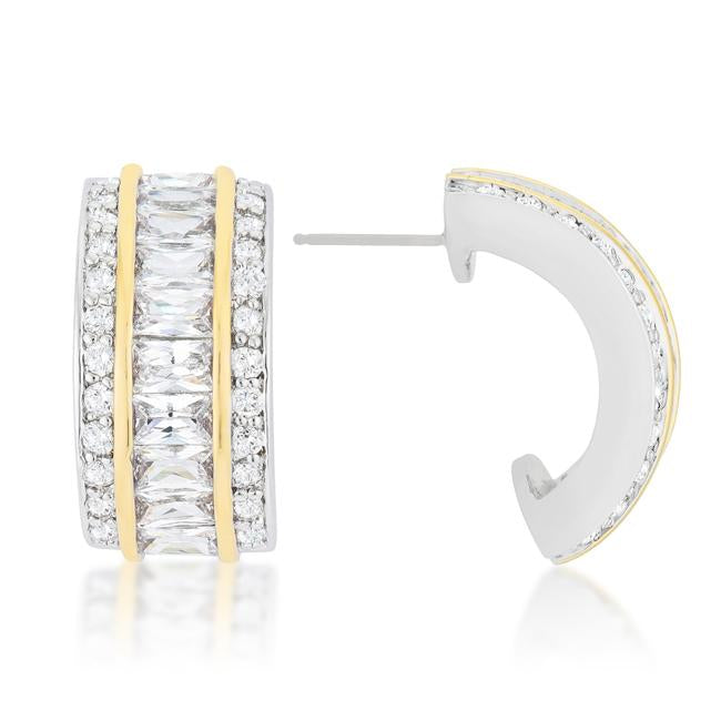Two-Tone Three Row Earrings         	 		         	         	 		         	         	 		                           E50167T-C01