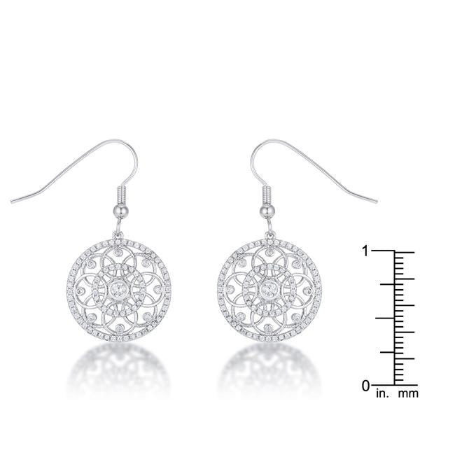 .95 Ct Interlocking Circle Rhodium and CZ Earrings         	 		         	         	 		         	         	 		                           E50185R-C01