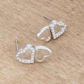 .17 Ct Melded Hearts Rhodium and CZ Stud Earrings         	 		         	         	 		         	         	 		                           E50186R-C01