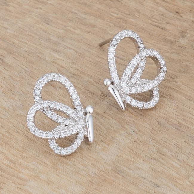 .45 Ct CZ Butterfly Stud Earrings         	 		         	         	 		         	         	 		                           E50187R-C01