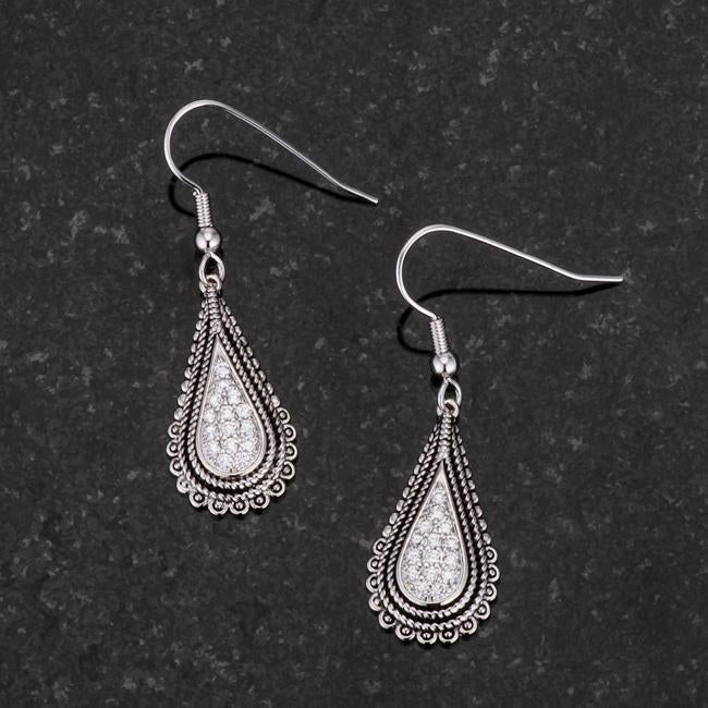 .45 Ct Tear Drop Rhodium Earrings with CZ         	 		         	         	 		         	         	 		                           E50189R-V01