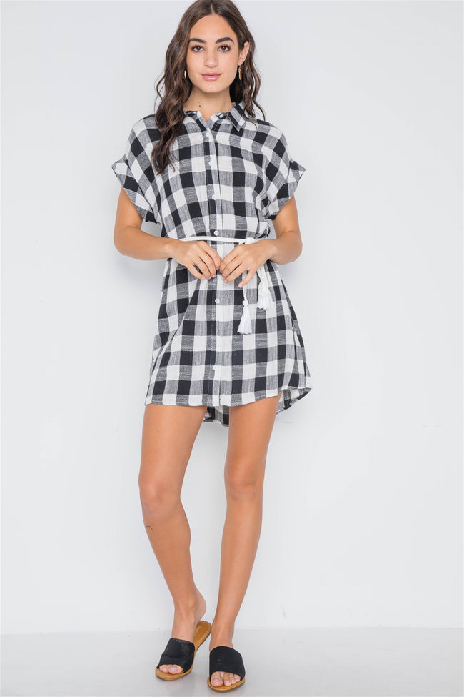 Black White Gingham Button Down Shirt Dress