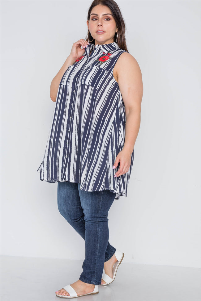 Plus Size Navy White Stripe Sleeveless Shirt Dress