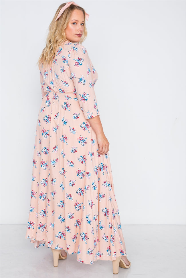 Plus Size Pink Floral Button Down Maxi Dress