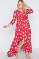 Plus Size Red Floral Button Down Maxi Dress