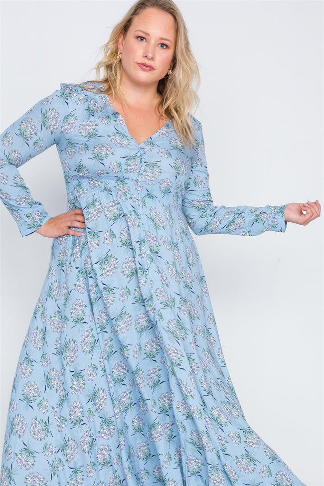 Plus Size Light Blue Floral Button Down Maxi Dress