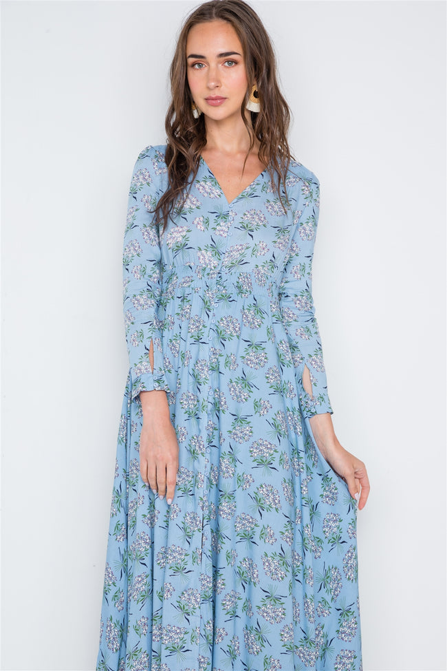 Light Blue Floral Button Down Long Sleeve Maxi Dress