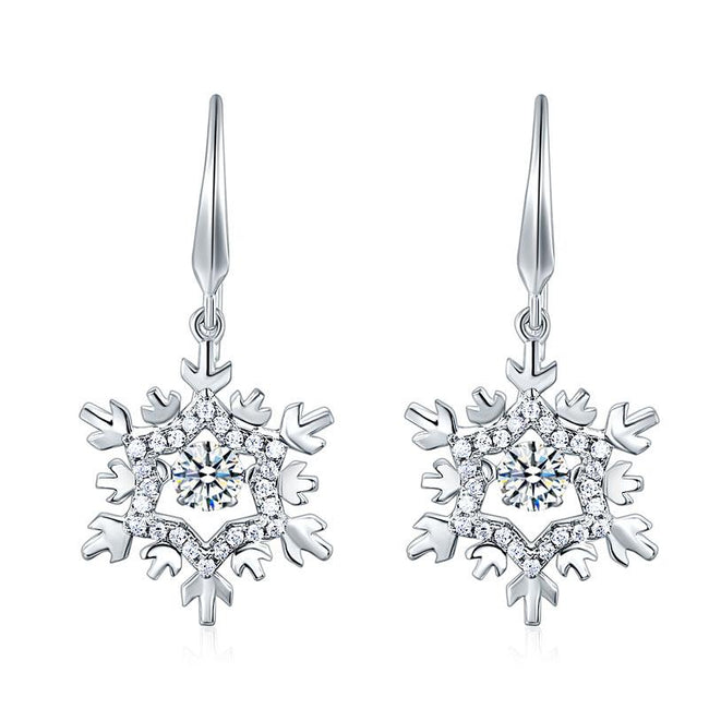 Classic Dancing Stone Dangle Drop Earrings Snowflake 925 Sterling Silver Wedding Gift XFE8132
