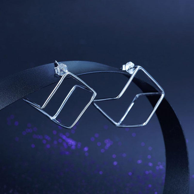 Cube Stud 925 Sterling Silver Earrings Fashion Stylish Jewelry XFE8138