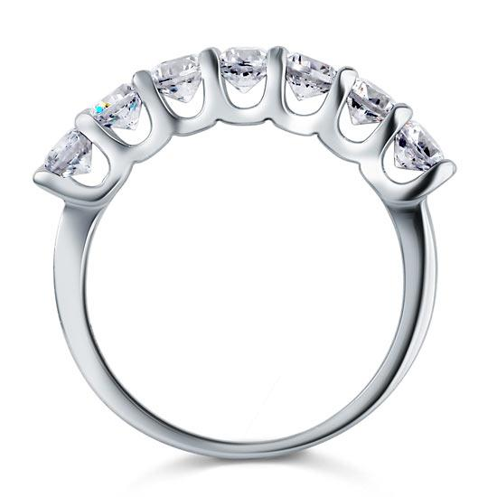 1.75 Carat Seven Stone Solid 925 Sterling Silver Wedding Ring Jewelry XFR8043
