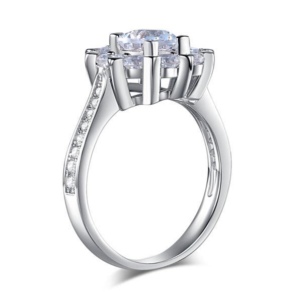 Snowflake 925 Sterling Silver Wedding Promise Anniversary Ring 1 Ct Created Diamond XFR8265