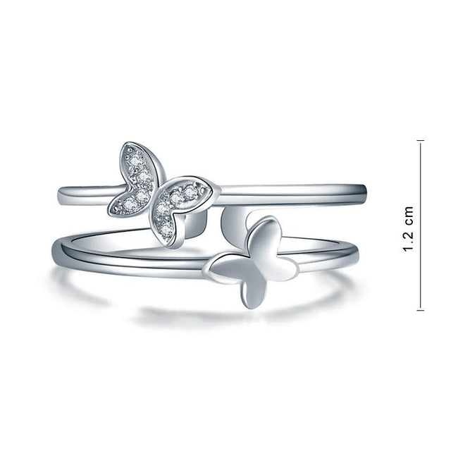 Solid 925 Sterling Silver Ring Band Fashion Butterfly 2017 New Style for Girls Ladies XFR8298