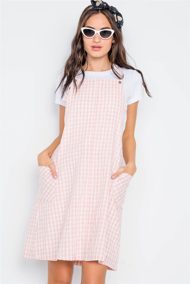 Mauve Checkered Overall Shift Dress